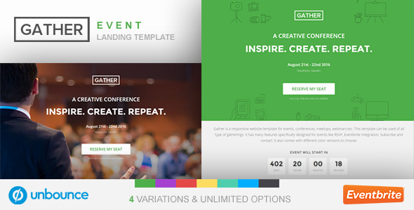 Unbounce Event Landing Page Template - Gather