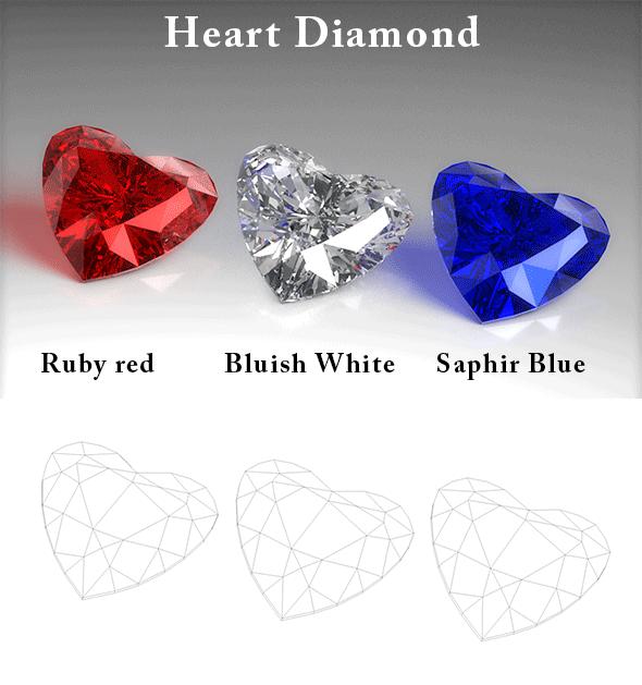Heart Diamond - 3DOcean Item for Sale