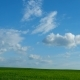 Countryside Natural Background. Field With Wheat Germ. Cloudscape in Spring Sunny Day. Russia