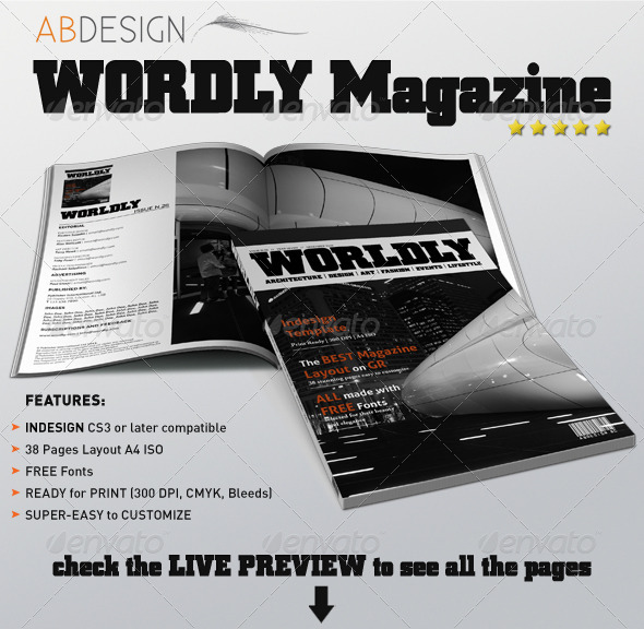 GraphicRiver Wordly Magazine Indesign Template 696495