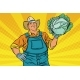 Download Vector Rural Retro Farmer and a Head of Green Cabbage