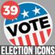 39 Flat USA Election Icons