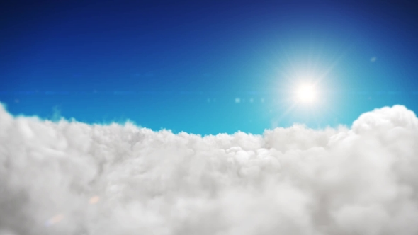 Download Animation Blue Sky And Sun Background With White Clouds nulled download