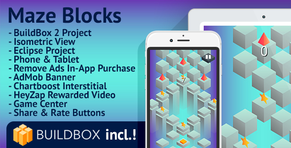 Maze Blocks: Android, BuildBox Included, Easy Reskin, AdMob, Chartboost, HeyZap, Remove Ads - CodeCanyon Item for Sale