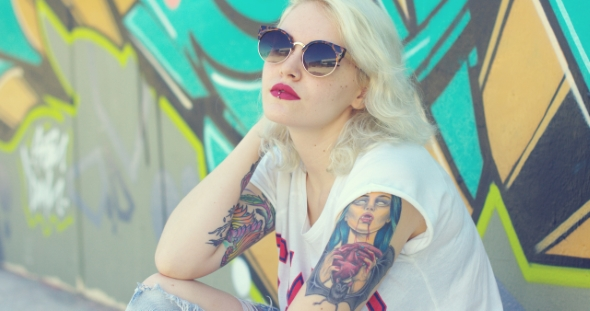 Download Trendy Young Woman With a Vampire Tattoo nulled download
