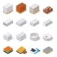 Construction Materials Isometric Icon Set