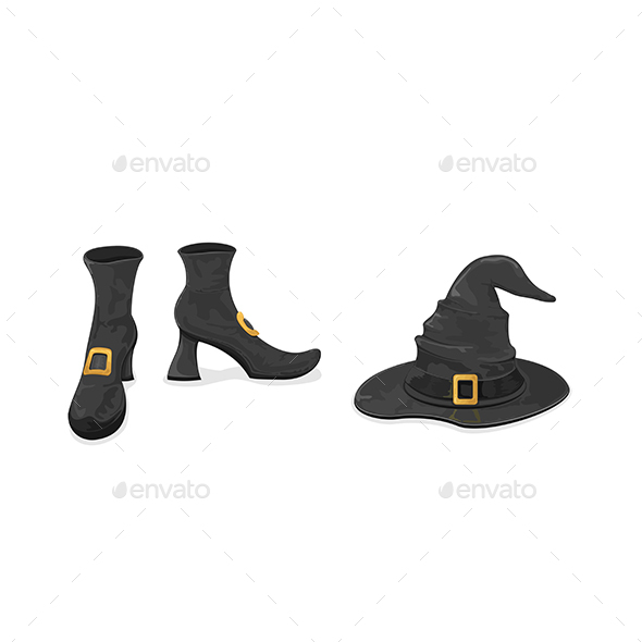 Witches Shoes and Hat for Halloween