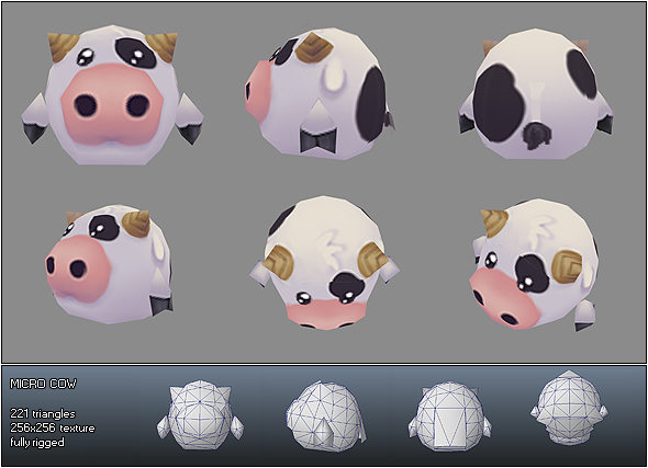 Low Poly Micro Cow Ulli - 3DOcean Item for Sale