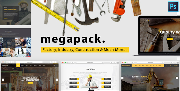 Mega Pack - Factory, Industry & Construction PSD Template