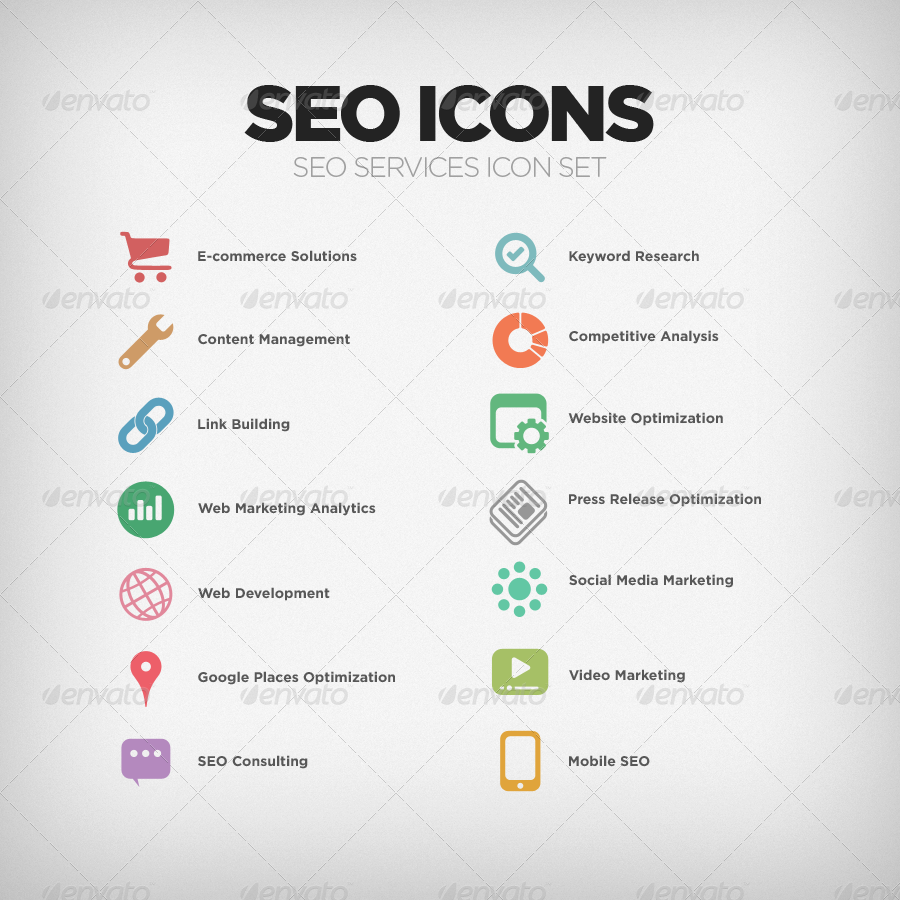 SEO Company Services Icon Set