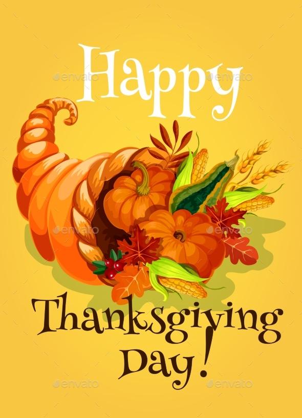 Thanksgiving Day Cornucopia Greeting Card