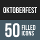 Oktoberfest Flat Round Corner Icons