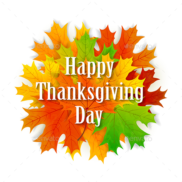 Happy Thanksgiving Day Background with Leaves
