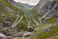 Norwegian mountain road. Trollstigen. Stigfossen waterfall. Norway tourist landscape valley
