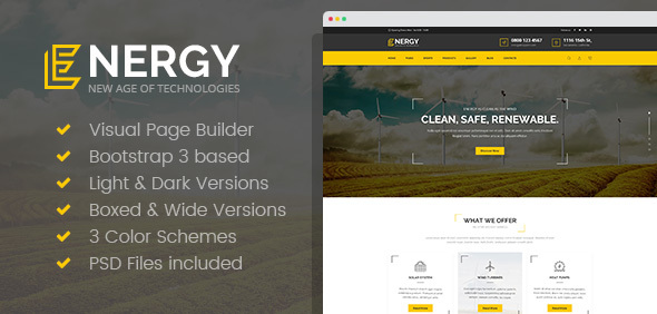 Energy - Renewable Energy and Eco Friendly Technologies HTML template with Builder