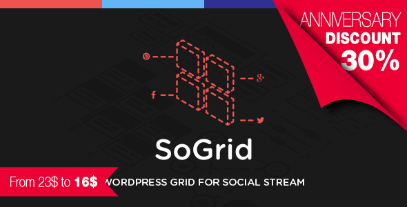 SoGrid Wordpress Grid for Social Stream Display Social Network Posts Feed in a Functional Grid