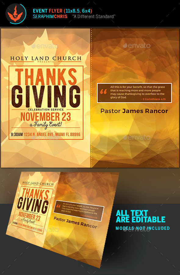 Thanksgiving Service Fall Flyer Template
