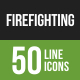 Firefighting Line Green & Black Icons