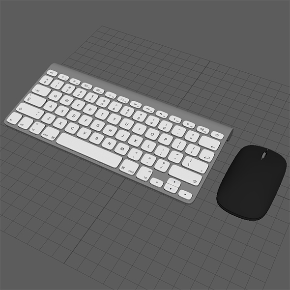 Highpoly Mac Keyboard & Microsoft Mouse - 3DOcean Item for Sale