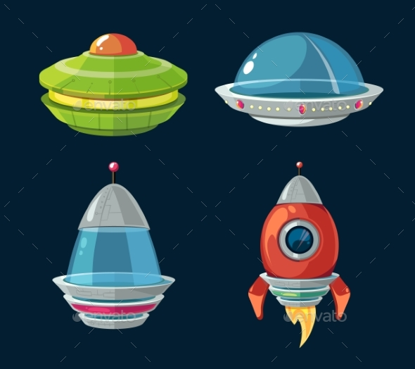 Spaceship and Spacecrafts Cartoon Set for Space