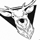 Reindeer Head Crest Logo