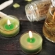Green Candles in Spa Salon and Massage Oil