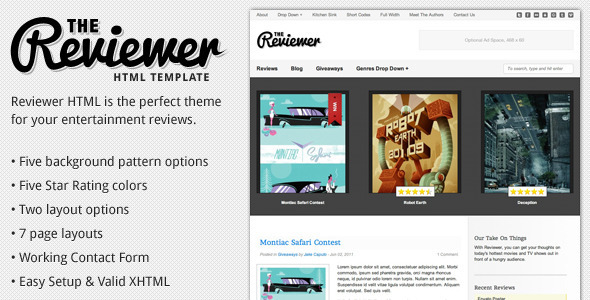 Reviewer - HTML Template for Entertainment Reviews - Film & TV Entertainment