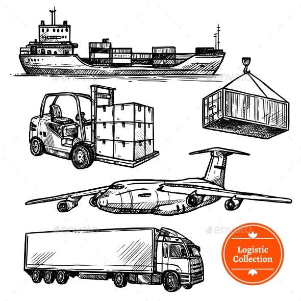Graphicriver Hand Drawn Sketch Logistics Set 18463671