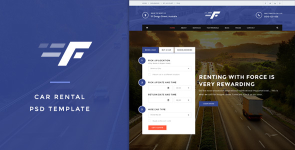 Force - Car Rental PSD Template