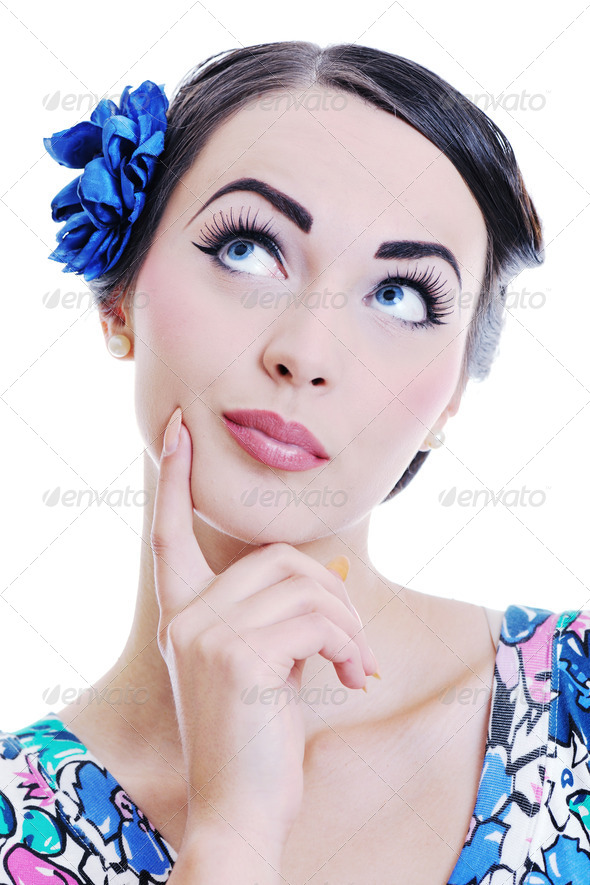 beautiful young woman isolated on white - Stock Photo - Images
