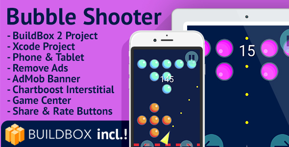 Bubble Shooter: iOS, Easy Reskin, AdMob, Chartboost, Remove Ads, BuildBox Included