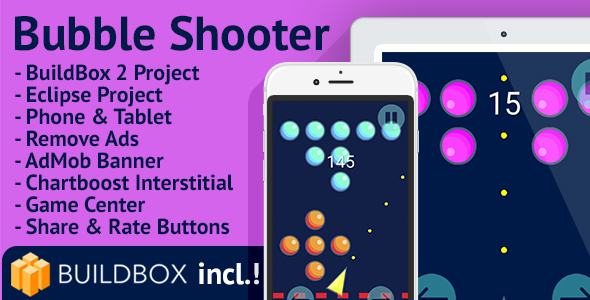 Bubble Shooter: Android, Easy Reskin, AdMob, Chartboost, Remove Ads, BuildBox Included - CodeCanyon Item for Sale
