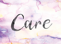 Care Colorful Watercolor and Ink Word Art