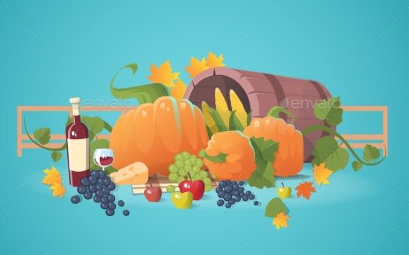 Fresh Vegetables Food Wine Fruit Set