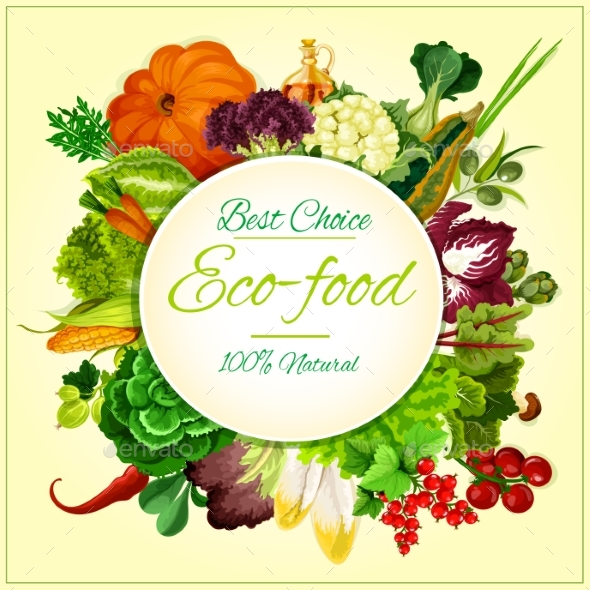 Eco Food Organic Vegetables and Fruits Symbol