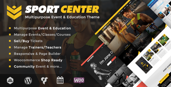 Фото Template Wordpress  Sport Center - Multipurpose Events & Education WordPress Theme — 00 Preview.  large preview