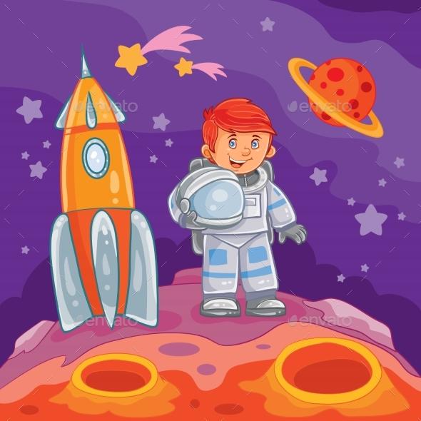 Illustration of a Little Boy Astronaut