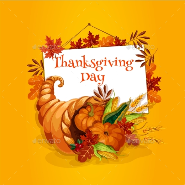 Thanksgiving Cornucopia Plenty Horn Greeting Card