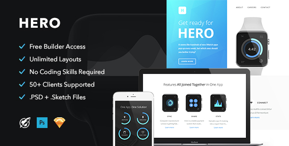Image of Hero - Responsive Email + Themebuilder Access