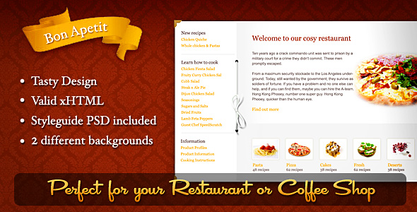 Bon Apetit, restaurant or coffee shop template -