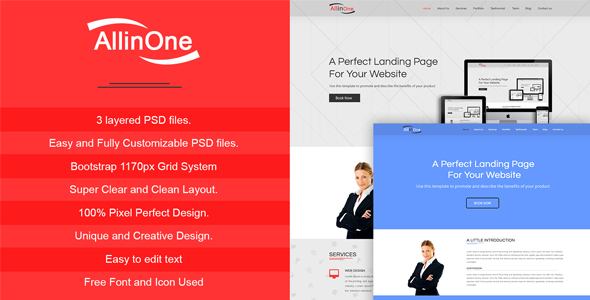 All In One - Multi Purpose One Page / Landing Page Website PSD Template