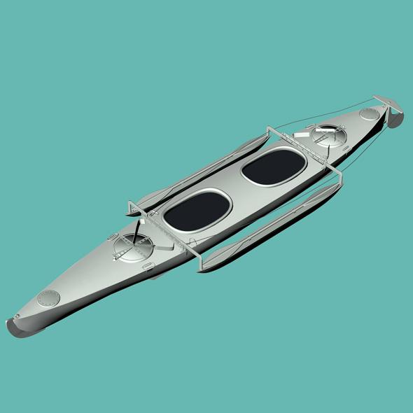 Aluminium Canoe 3D model - 3DOcean Item for Sale