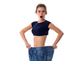 Woman wearing jeans of much bigger size