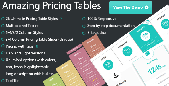 Amazing Pure HTML CSS Pricing Tables - CodeCanyon Item for Sale