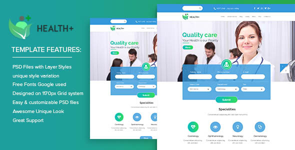 Health+ PSD Templates
