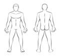Nude Man Illustration Front Back View Outline