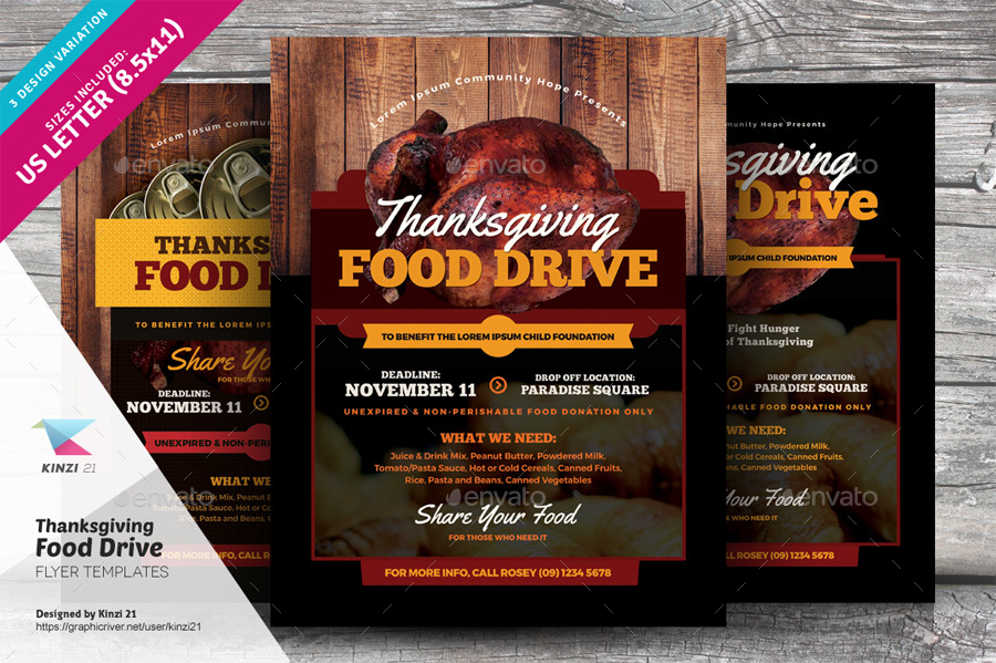 Thanksgiving Food Drive Flyer Templates by kinzi21 – Donation Flyer Template