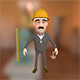 Worker with ruler cartoon character