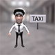 Taxi driver cartoon character