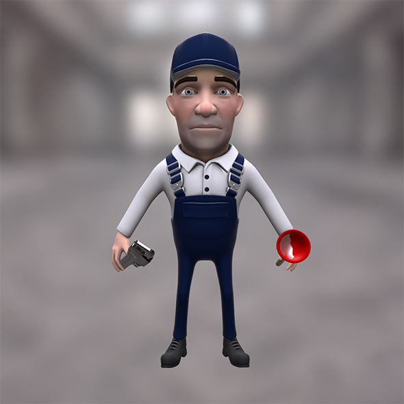 Plumber cartoon character with plunger - 3DOcean Item for Sale